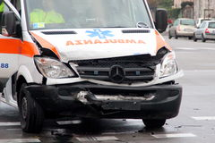 Ambulance head-on collision Stock Photos