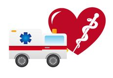Ambulance and heart Stock Images