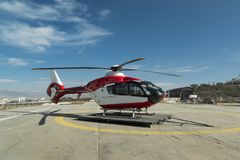 Ambulance Helicopter. Patient transport for winter conditions, hospital transport helicopter stock photo