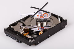 Ambulance helicopter on harddrive or hdd - data rescue concept Royalty Free Stock Photo