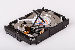 Ambulance helicopter on harddrive or hdd - data rescue concept Stock Photo