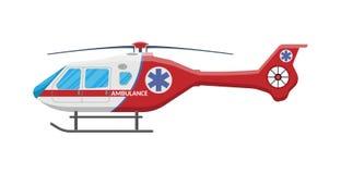 Ambulance helicopter Medical evacuation helicopter. Ambulance helicopter. Red medical evacuation helicopter. Healthcare, hospital and medical diagnostics vector illustration