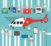 Ambulance helicopter, medicalflat design Stock Image