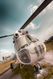 Ambulance helicopter. An old, bad Russian ambulance helicopter, front royalty free stock photos