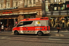 Ambulance in Helsinki. Photo of ambulance in one of most visited street near old Shopping Center. helsinki, Finland royalty free stock photography