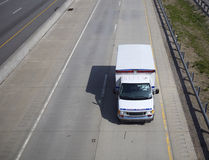 Ambulance on the Highway. (Wide Angle) Top View with Copy Space on the Side Royalty Free Stock Photography