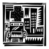 Ambulance and Hospital. Black and White Illustration of Ambulance and Hospital with City Stock Image