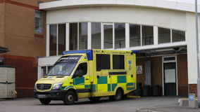 Ambulance at a Hospital Entrance in England Royalty Free Stock Photos
