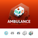 Ambulance icon in different style. Ambulance color icon, vector symbol in flat, outline and isometric style  on blur background Royalty Free Stock Image
