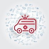 Ambulance icon and healthcare doodles vector illustration