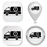 Ambulance icon sticker button point marker Royalty Free Stock Photo