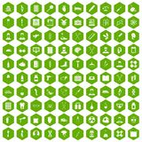 100 ambulance icons hexagon green. 100 ambulance icons set in green hexagon isolated vector illustration Stock Photos