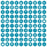 100 ambulance icons sapphirine violet. 100 ambulance icons set in sapphirine hexagon isolated vector illustration Royalty Free Stock Photography