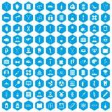 100 ambulance icons set blue. 100 ambulance icons set in blue hexagon isolated vector illustration Vector Illustration