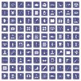 100 ambulance icons set grunge sapphire. 100 ambulance icons set in grunge style sapphire color isolated on white background vector illustration Stock Photography