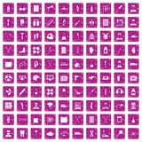 100 ambulance icons set grunge pink. 100 ambulance icons set in grunge style pink color isolated on white background vector illustration Royalty Free Stock Images