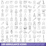 100 ambulance icons set, outline style. 100 ambulance icons set in outline style for any design vector illustration Stock Images