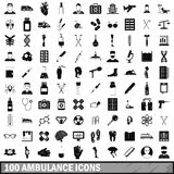 100 ambulance icons set, simple style. 100 ambulance icons set in simple style for any design vector illustration Stock Photo