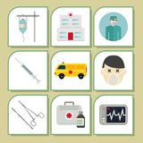 Ambulance icons vector medicine health emergency hospital urgent pharmacy pill support paramedic treatment Stock Photos