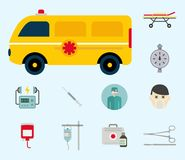 Ambulance icons vector medicine health emergency hospital urgent pharmacy pill support paramedic treatment Royalty Free Stock Photos