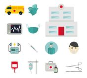 Ambulance icons vector medicine health emergency hospital urgent pharmacy pill support paramedic treatment. Ambulance icons vector set. Medicine health emergency Royalty Free Stock Photography