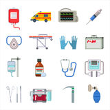 Ambulance icons vector set. Stock Image