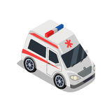 Ambulance Illustration in Isometric Projection. Medical service car picture for medical concepts, web, applications icons, infographics, logotype design Royalty Free Stock Photo