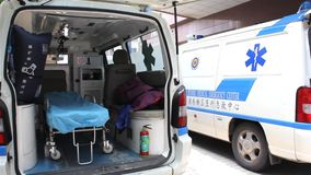 Ambulance inside stock footage