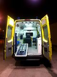 Ambulance. Back view with doors wide open royalty free stock images