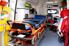 Ambulance interior details. Emergency equipment and devices visible Royalty Free Stock Images