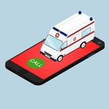Ambulance in isometric view. Call the ambulance by phone. Call for help. Concept. Call doctor at home. Vector illustration Stock Photos