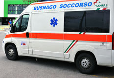 Ambulance in Italy. April 1, 2013, Busnago: An ambulance parked at a hypermarket Stock Images