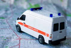 Ambulance on a map Royalty Free Stock Image
