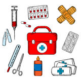Ambulance and medical objects icons. Ambulance concept with a vector icons of a first aid kit surrounded by plasters, medication, forceps, syringe and tablets Royalty Free Stock Photo