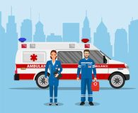 Ambulance medical service first aid concept. Doctor nurse ambulance car. Vector illustration in flat style Stock Image