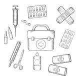 Ambulance and medical sketch icons. Ambulance concept with a sketch icons of a first aid kit, plasters, medication, forceps, syringe and tablets. For medicine Royalty Free Stock Photography
