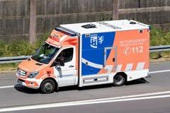 Ambulance on motorway. Ambulance of the German Oberberg distict on motorway stock photo