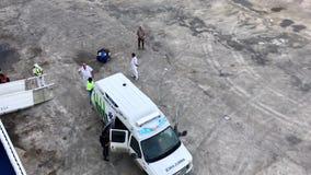 Ambulance near Cruise ship stock footage