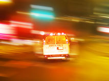 Ambulance night emergency. Drive with lights on. ambulance in a rush to save people stock image
