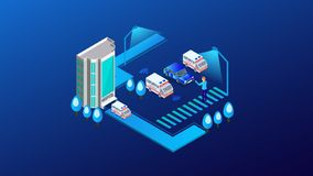 The ambulance opposite the of the hospital.isometric vector illustration vector illustration