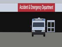 Ambulance outside hospital Stock Photo