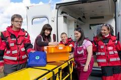Ambulance paramedics outdoors Stock Photo