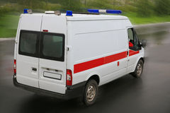 Ambulance on  parking near hospital Stock Photography