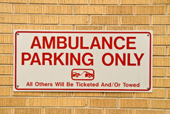 Ambulance Parking sign. A sign indicating a ambulance parking only zone Royalty Free Stock Image
