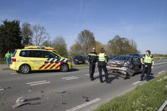 Ambulance and police attended an accident Royalty Free Stock Image