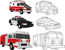 Ambulance, Police Car, Fire Engine Royalty Free Stock Photo