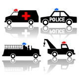 Ambulance police car fire truck. And tow truck silhouettes Stock Images