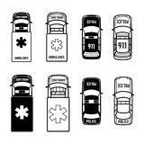 Ambulance and police cars icons on white background. Vector illustration Stock Images