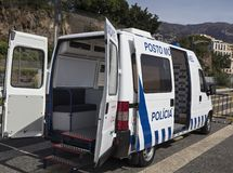 Ambulance and police van of the Portuguese police on the island of Madeira royalty free stock images