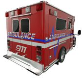 Ambulance: Rear view of emergency services vehicle on white. Ambulance: Rear view of emergency services vehicle over white. Custom made and rendered Stock Photography